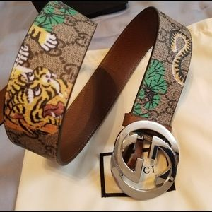 Gucci beige leather bengal monogram silver gg belt